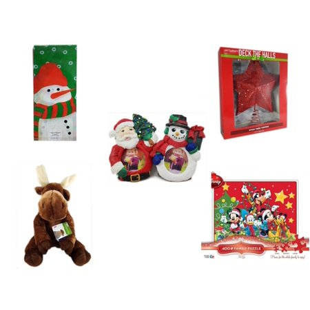Christmas Fun Gift Bundle [5 Piece] - Assorted  Cello Bags With Ties - Deck The Halls Red Star Tree Topper 11.5