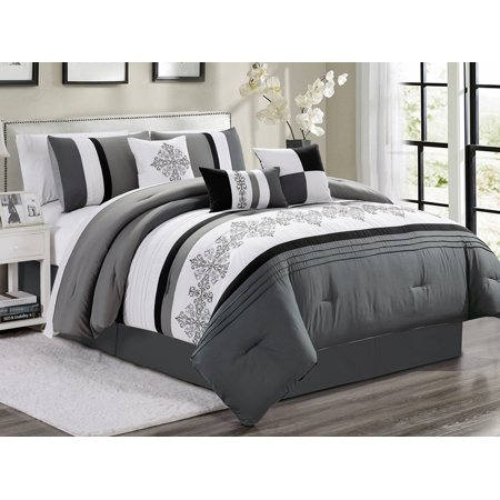 11-Pc York Royal Floral Damask Scroll Embroidery Pleated Comforter Curtain  Set Gray White Black King