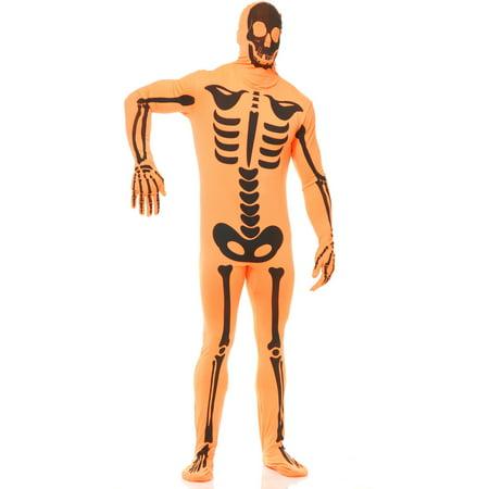 Adult Men's Orange Black Halloween Skeleton Bodysuit Costume - Adult Skeleton Onesie
