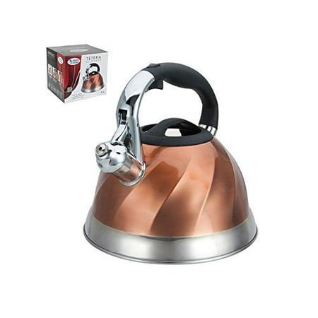 Premium Whistling Tea Kettle with Mesh Tea Strainer, Copper Color Finish - 2.8 Liters