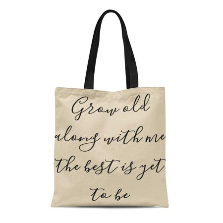 KDAGR Canvas Tote Bag Best Grow Old Me Couple Wedding Farmhouse Customize Reusable Handbag Shoulder Grocery Shopping