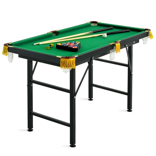 "Costway 47"" Folding Billiard Table Pool Game Table Indoor Kids w/ Cues Brush Chalk Green"