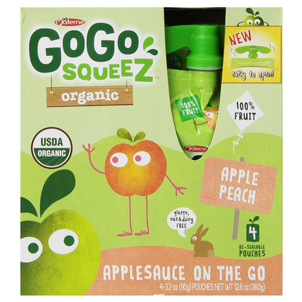 GoGo Squeez Organic Apple Peach Applesauce 3.2 oz Pouches...