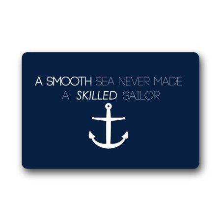 RYLABLUE Nautical Anchor Quotes A Smooth Sea Never Made a Skilled Sailor Doormat Floor Mats Rugs Outdoors/Indoor Doormat Size 23.6x15.7 inches - image 1 of 1
