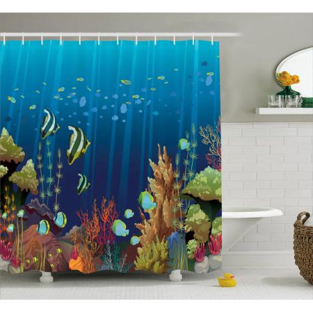 Under the Sea Shower Curtain, Coral Reef with Sea Creatures Tropical Oceanic Life Exotic Fishes and Seaweed, Fabric Bathroom Set with Hooks, 69W X 70L Inches, Multicolor, by Ambesonne