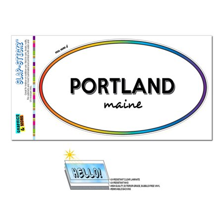Portland, ME - Maine - Rainbow - City State - Oval Laminated Sticker
