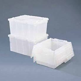 ORBIS Flipak Attached Lid Container -21-4/5 x 15-1/5 x 9-4/5, Clear, Lot of 1 Orbis Flipak Totes