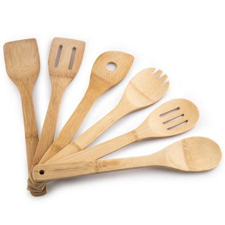 MEGALOWMART 6 Piece Bamboo Kitchen Tools Utensil Set Bamboo Kitchen Tools