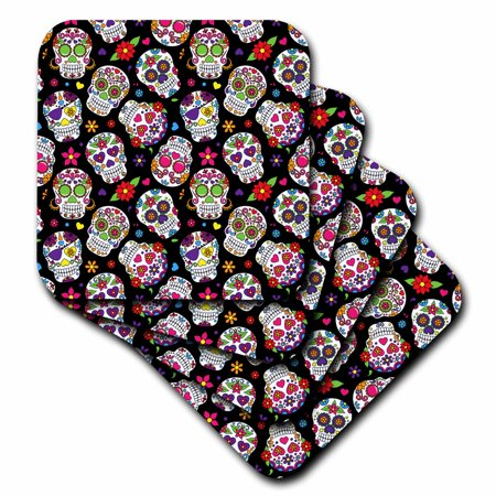 - 3dRose Colorful Scattered Sugar Skulls On A Black Background Pattern - Ceramic Tile Coasters, set of 4