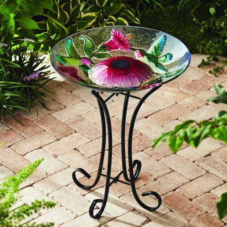 - Better Homes & Gardens Outdoor 18 in. Solar Hummingbird Bird Bath