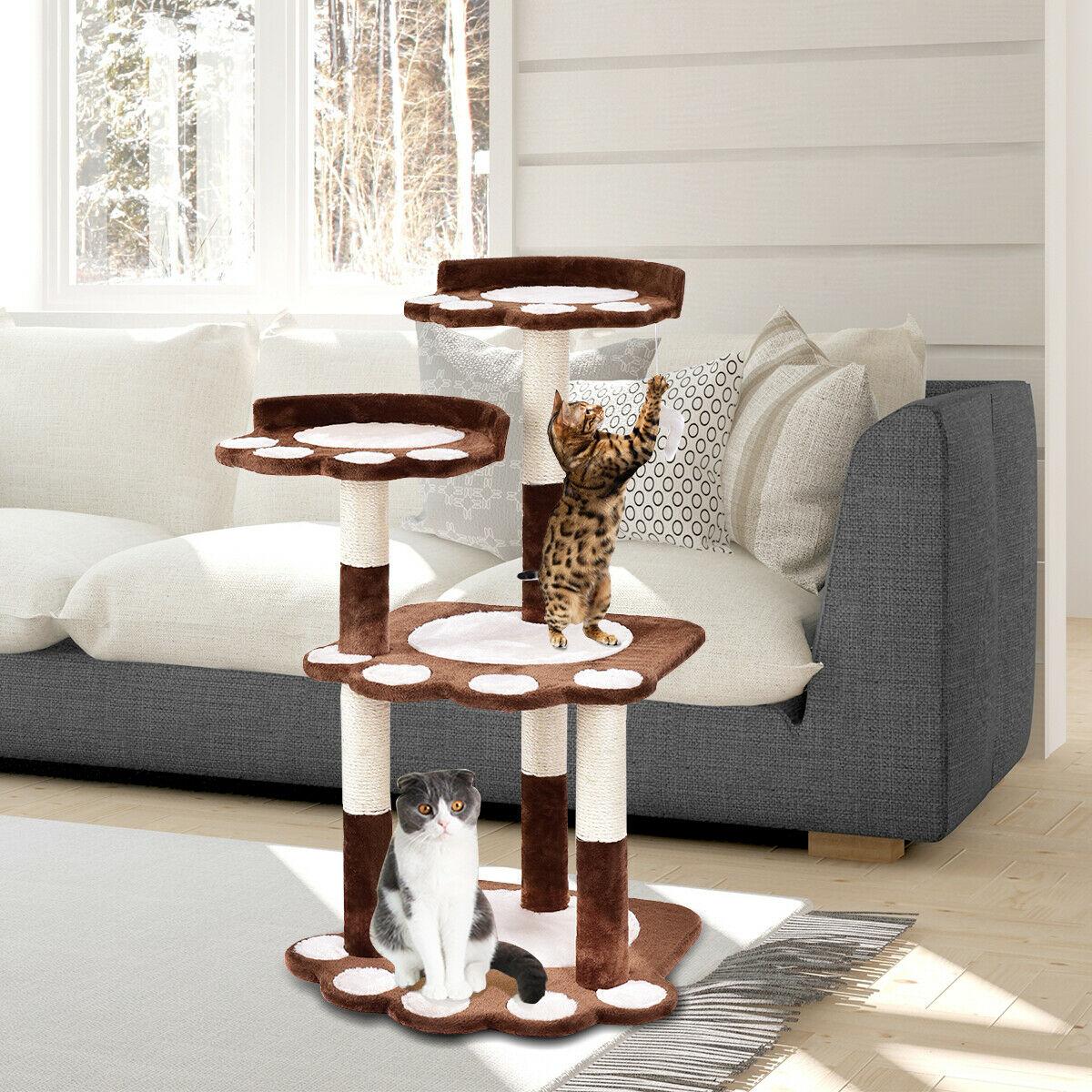 Gymax 42'' Cat Tree Kitten Pet Furniture Multi-level Climb Scratching Posts Paw Brown - image 10 de 10