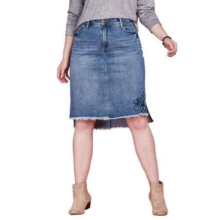 427a9ec829 Chelsea Studio - Chelsea Studio Plus Size Step Hem Denim Mini Skirt -  Walmart.com