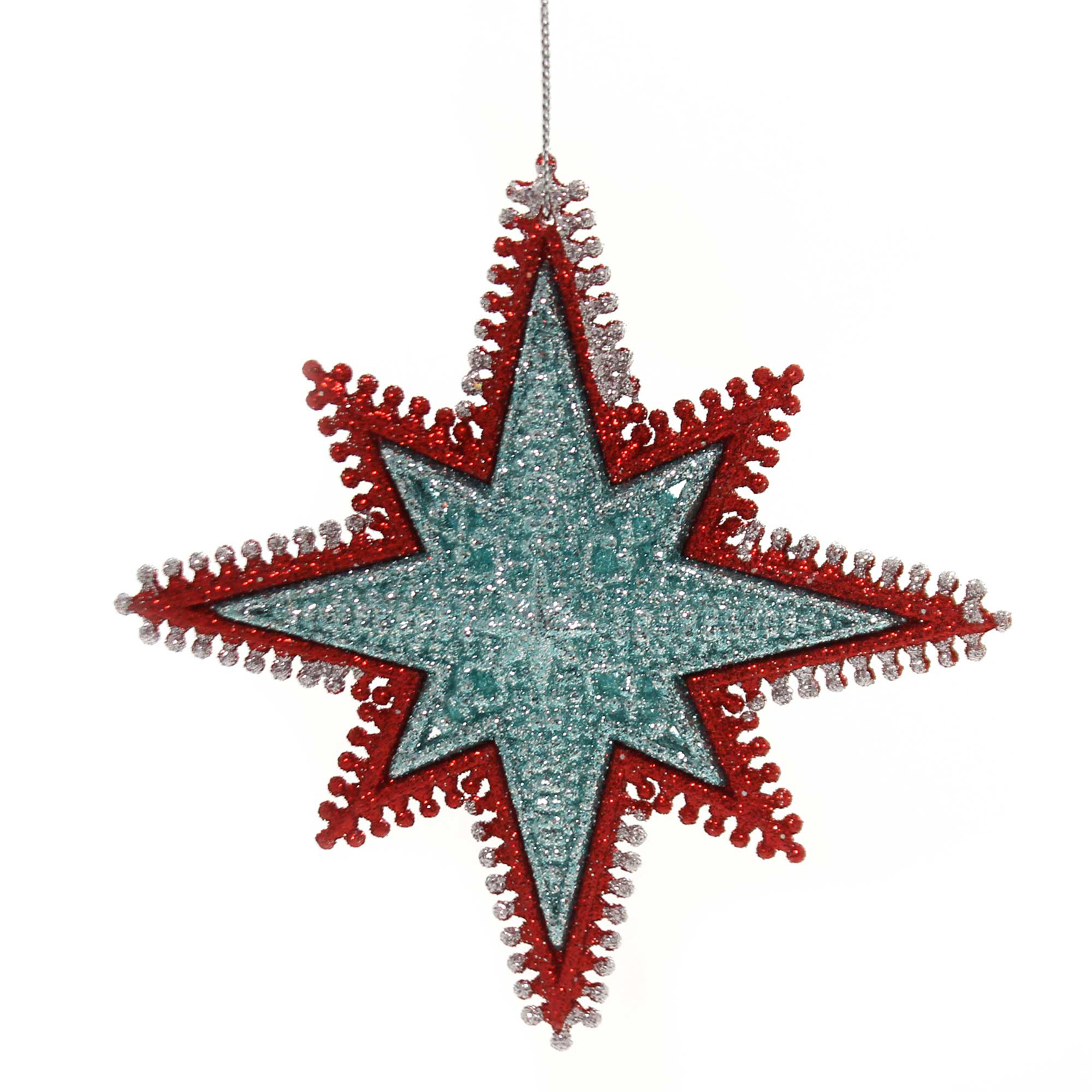 Holiday Ornaments STARBURST WIRED EDGING Plastic Red Gold Silver