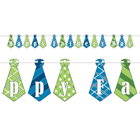 Beistle Happy Father's Day Striped Polka Dot Tie 16pc 9' Streamers, Green Blue](Polka Dot Streamers)