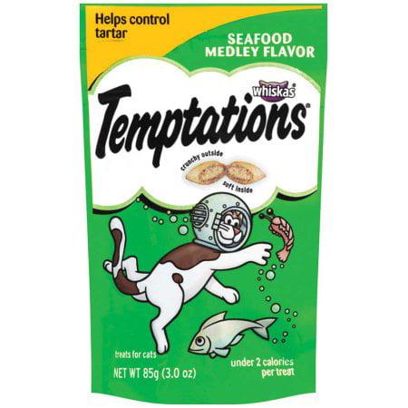 (12 Pack) TEMPTATIONS Classic Cat Treats Seafood Medley Flavor, 3 oz. Pouch