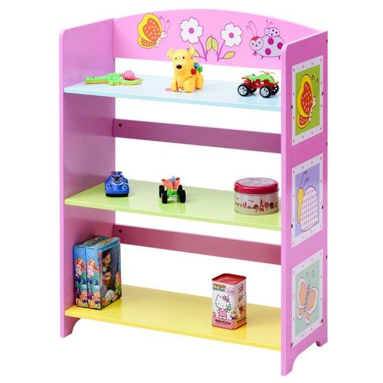 costway kids bookcase w 3 shelves book shelf kids adorable. Black Bedroom Furniture Sets. Home Design Ideas
