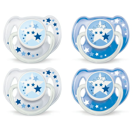 (2 pack) Philips Avent Glow in the Dark Orthodontic Pacifier, 6-18 months, Blue, 2 pack, SCF176/22