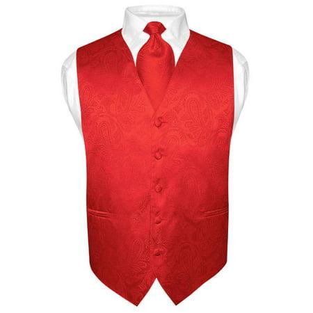 Men's Paisley Design Dress Vest & NeckTie RED Color Neck Tie Set for Suit or Tux