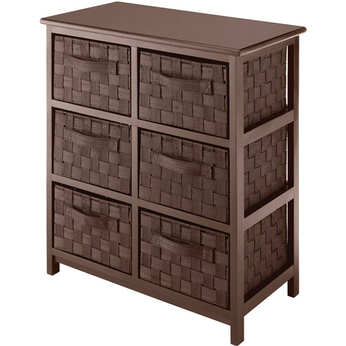 Whitmor Wood and Woven Strap 6-Drawer Chest, Java