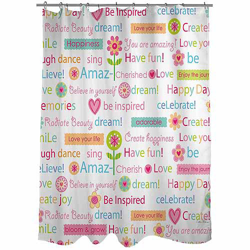 Thumbprintz Happy Day Words Shower Curtain