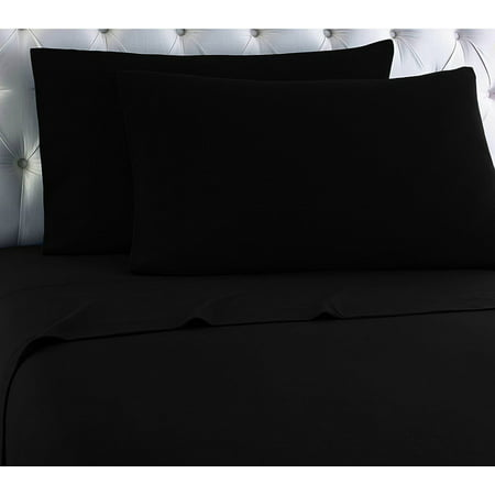 Empire Home Heavy Winter Flannel 100% Cotton Sheet set Fitted Flat Pillow Cases Deep Pocket - Black - Queen