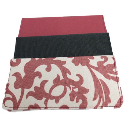 Set of 3 Checkbook Covers in Black, Maroon and Print