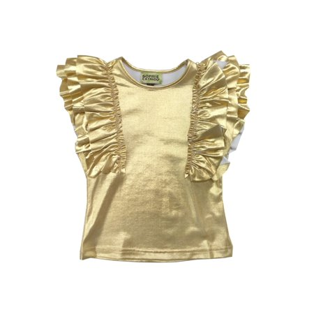 Sophie Catalou Little Girls Gold Metallic Shine Ruffle Embellished Top