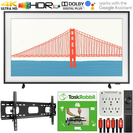 Samsung QN50LS03AA 50 Inch The Frame QLED 4K Smart TV (2021) Bundle with TaskRabbit Installation Services + Deco Gear Wall Mount + HDMI Cables + Surge Adapter