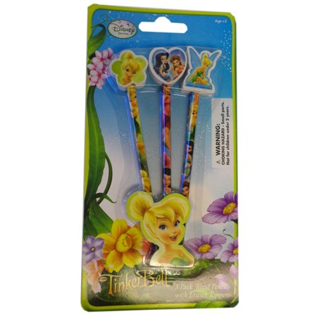 Disney Fairies Pencils with Eraser  TinkerBell 3 Pack Pencil with Large Erasers - 3d Erasers