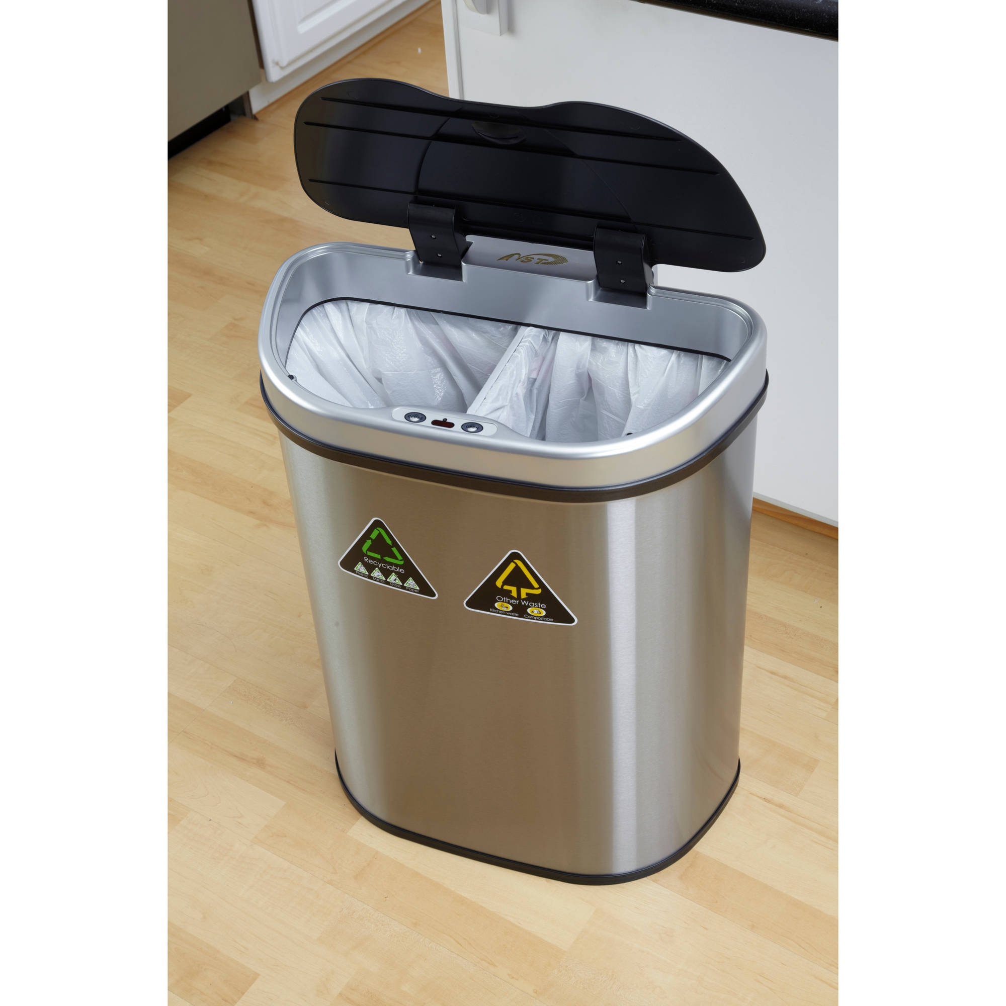 Nine Stars 18.5-Gallon Motion Sensor Recycle Unit and Trash Can ...