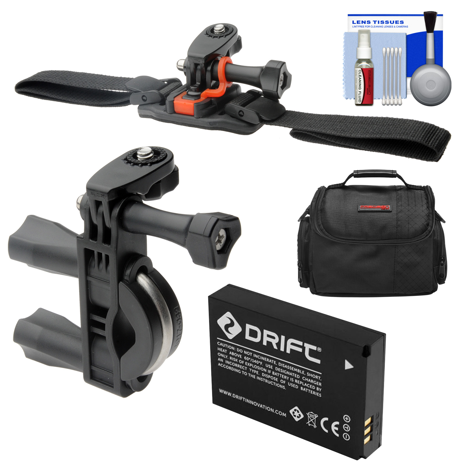 Essentials Bundle for Drift HD Ghost & Ghost-S Action Camcorder with Handlebar Bike & Vented Helmet Mounts + Battery + Case + Accessory Kit