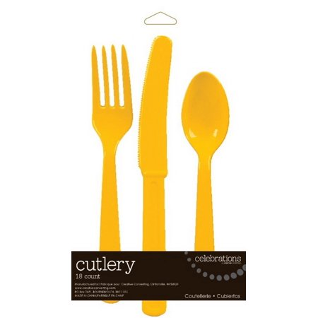 (Price/Case)Creative Converting 813269 School Bus Yellow Cutlery Assortment  (Case of 216)