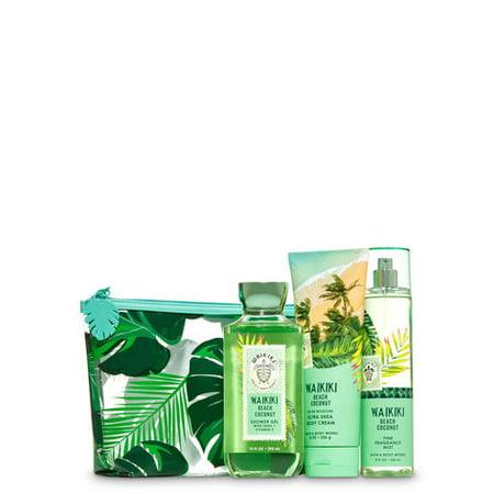 Bath and Body Works WAIKIKI BEACH COCONUT Cosmetic Bag Gift Set - Shower Gel (10 fl oz), Ultra Shea Body Cream (8 oz) & Fine Fragrance Mist (8 fl oz) packed inside a tropical cosmetic (Bath And Body Works 2017 Vip Bag)