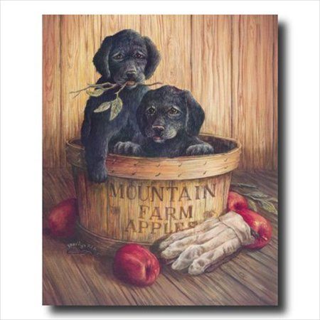 Country Apples Puppy Dogs Kids Wall Picture Art Print