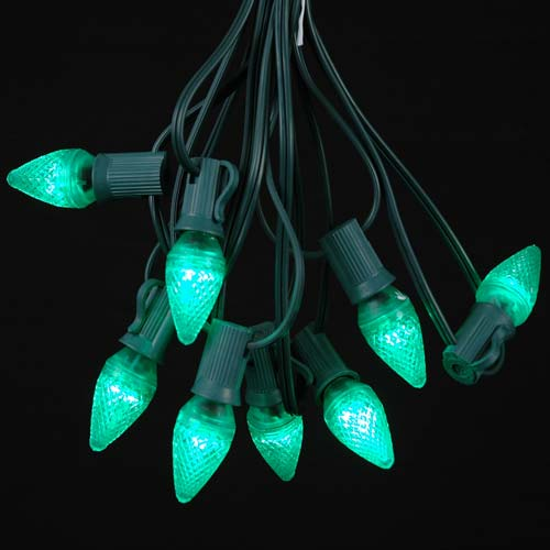 25 Foot C7 LED Outdoor Lighting Patio Christmas String Lights, Green Wire, 25 Bulbs