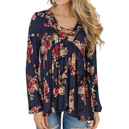 Women Floral Prints Pleated Lace Up Front Long Sleeve Blouse Abstract Print Pleated Blouse