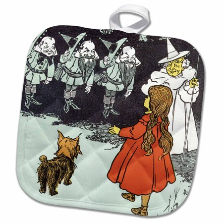 3dRose Dorothy and Toto Wizard of Oz vintage - Pot Holder, 8 by 8-inch - Wizard Of Oz Toto Dog In Basket