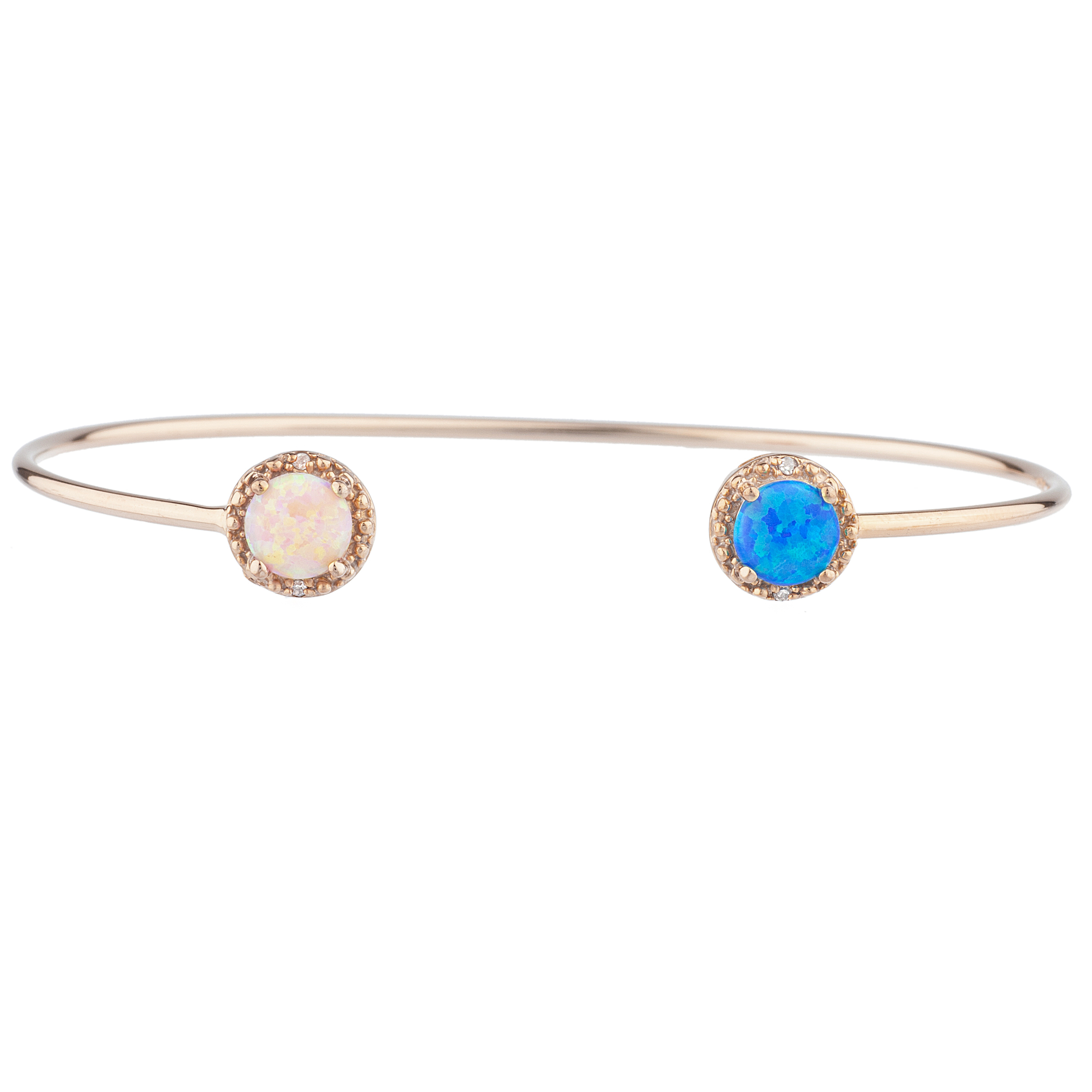 Blue Opal & Pink Opal Diamond Bangle Round Bracelet 14Kt Rose Gold Plated Over .925 Sterling Silver by Elizabeth Jewelry Inc