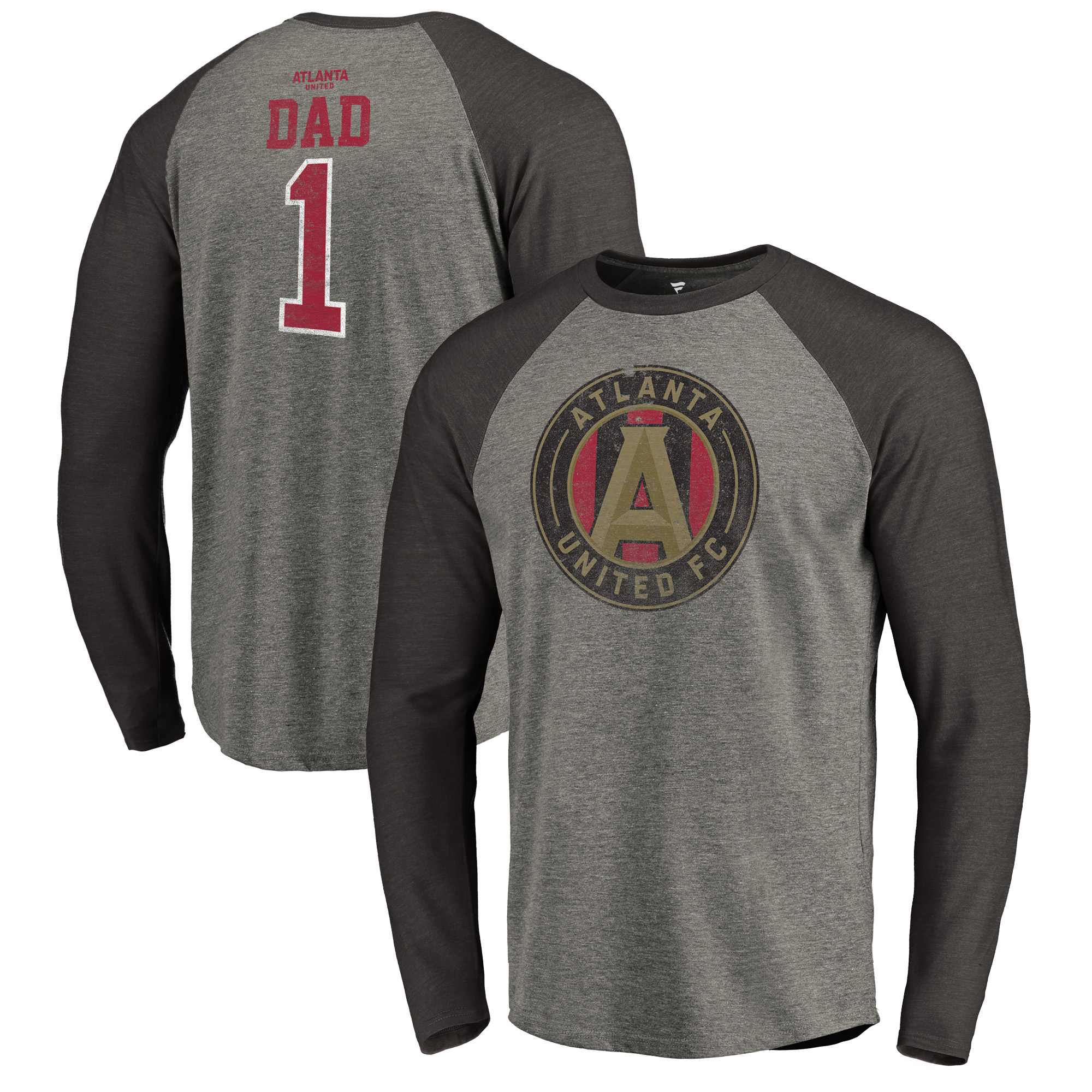 Atlanta United FC Fanatics Branded Greatest Dad Raglan T-Shirt - Heathered Gray