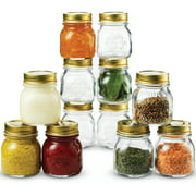 Quattro Stagioni Small Glass Mason Jars 5 Ounce Mini Jars (12-Pack) with Metal Airtight Lid, For Jam, Jelly, baby food, Crafts, Spices, Dry Food Storage, Wedding favors, Decorating Jar