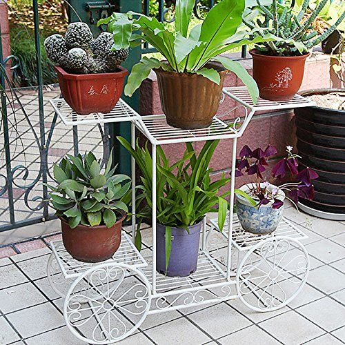 Dazone Metal Cart Flower Rack Display Garden Tree Home Decor Patio Plant Stand Holder by