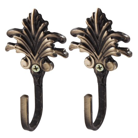 - Uxcell Flower Decoration Clothes Cap Handbag Metal Hook Wall Hanger Bronze Tone 2 PCS