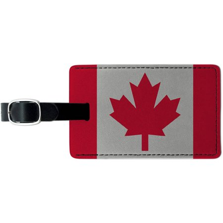 Canada Flag Leather Luggage ID Tag Suitcase Carry-On