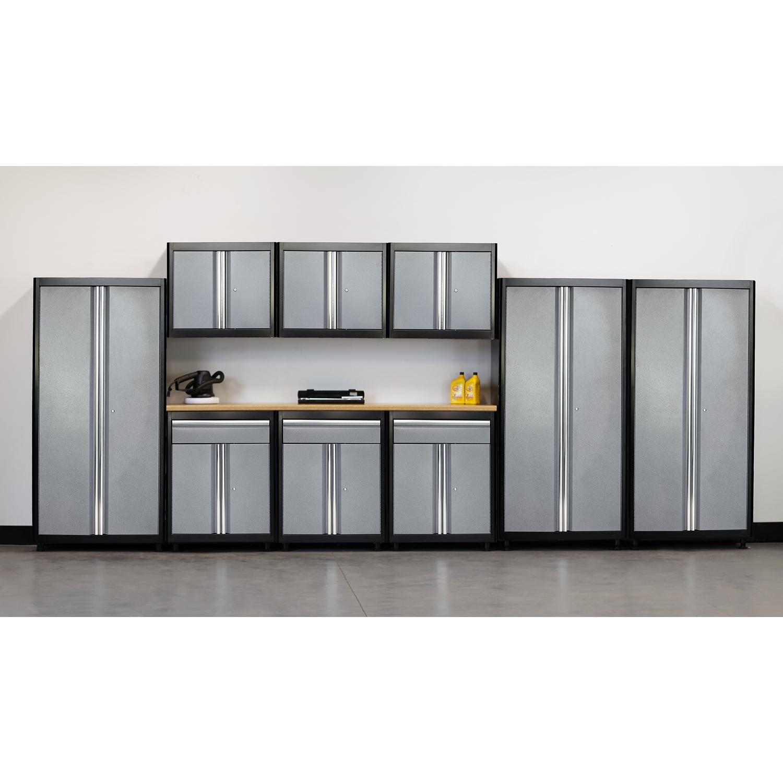 75 in. H x 198 in. W x 18 in. D Welded Steel Garage Storage System in Black/Multi-Granite (10-Piece)
