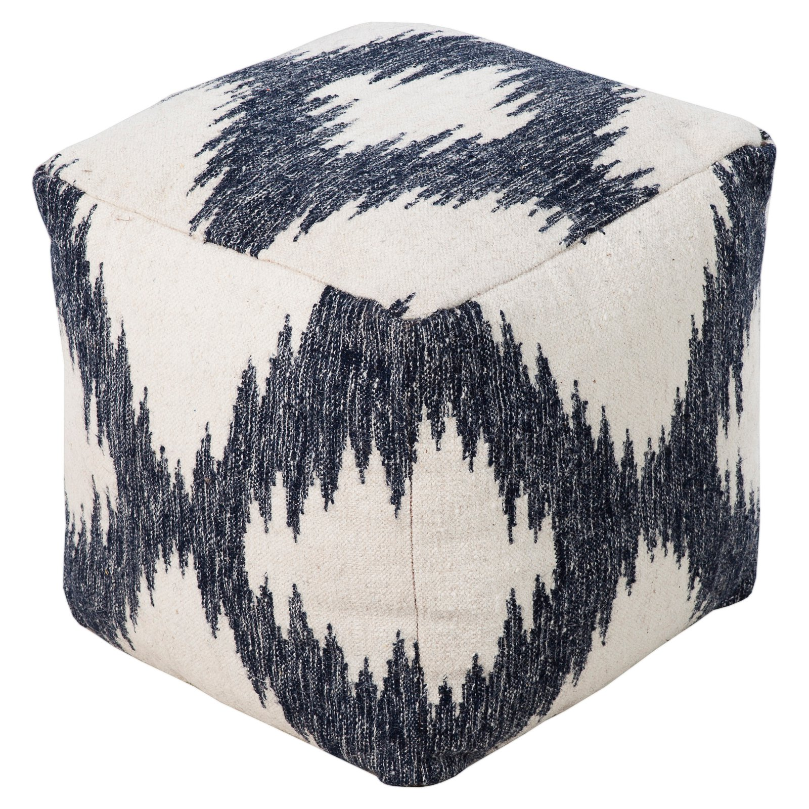 Surya 18 in. Cube Wool Pouf Ivory   Navy Gray by Surya