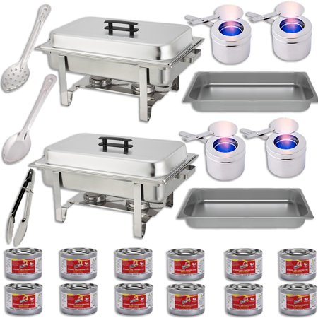 """Chafing Dish Set w/Fuel — Water Pans + Food Pans (8 qt) + Frames + Lids + Fuel Holders + 12 Fuel Cans + Serving Utensils (15"""" Perforated Spoon + 15"""" Solid Spoon + 9"""" Tong) — 2 Full Warmer Sets"""