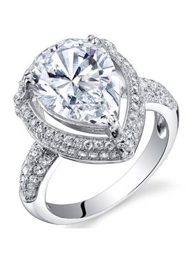 3.05 ct Pear Shape Cubic Zirconia Pave Ring in Sterling Silver