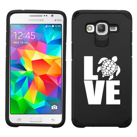 For Samsung Galaxy Core Prime Shockproof Impact Hard Soft Case Cover Love Sea Turtle (Black)