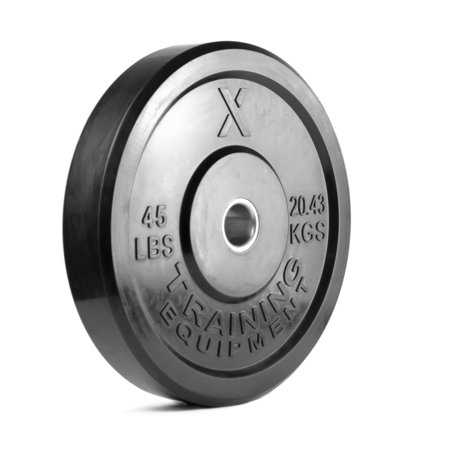 45lb Black Bumper Plate Pair Solid Rubber with Steel Insert - Great for Crossfit Workouts - (2 X 45 lb Pound