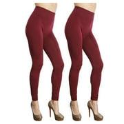 Women's 2-Pack  Seamless Fleece Lined Leggings Burgundy
